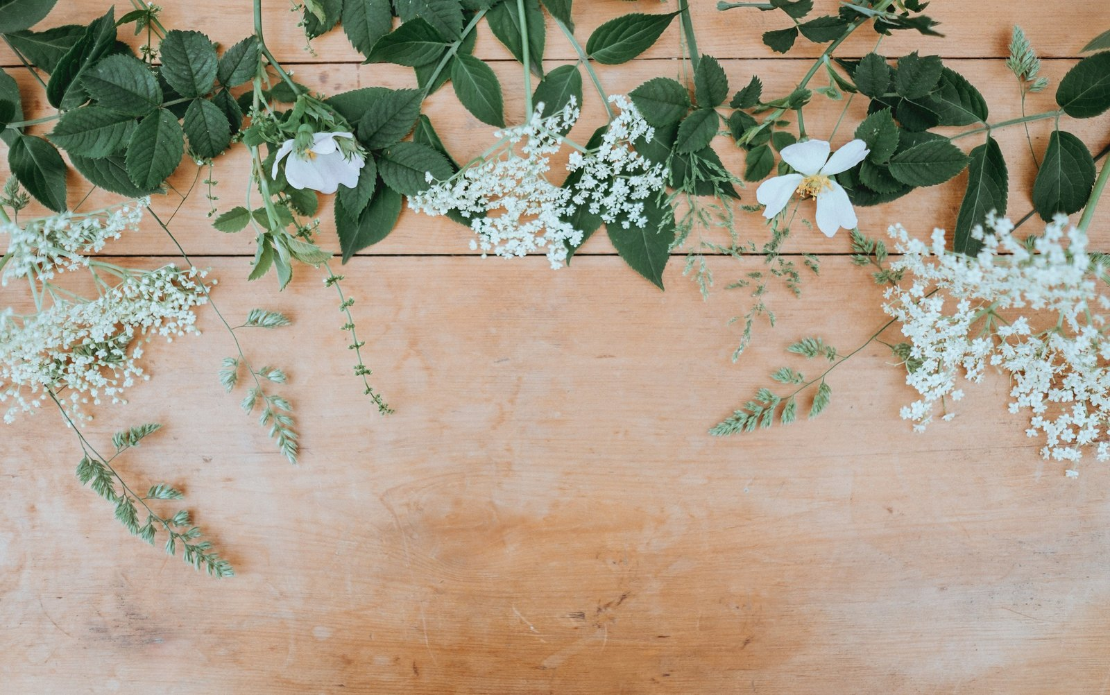 flowers on wood table