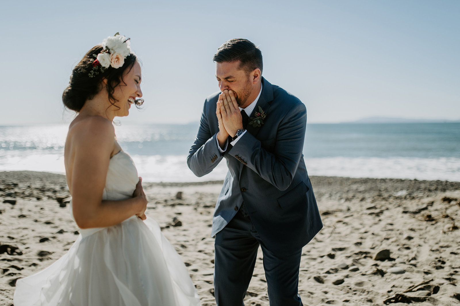 First Look Beach Wedding
