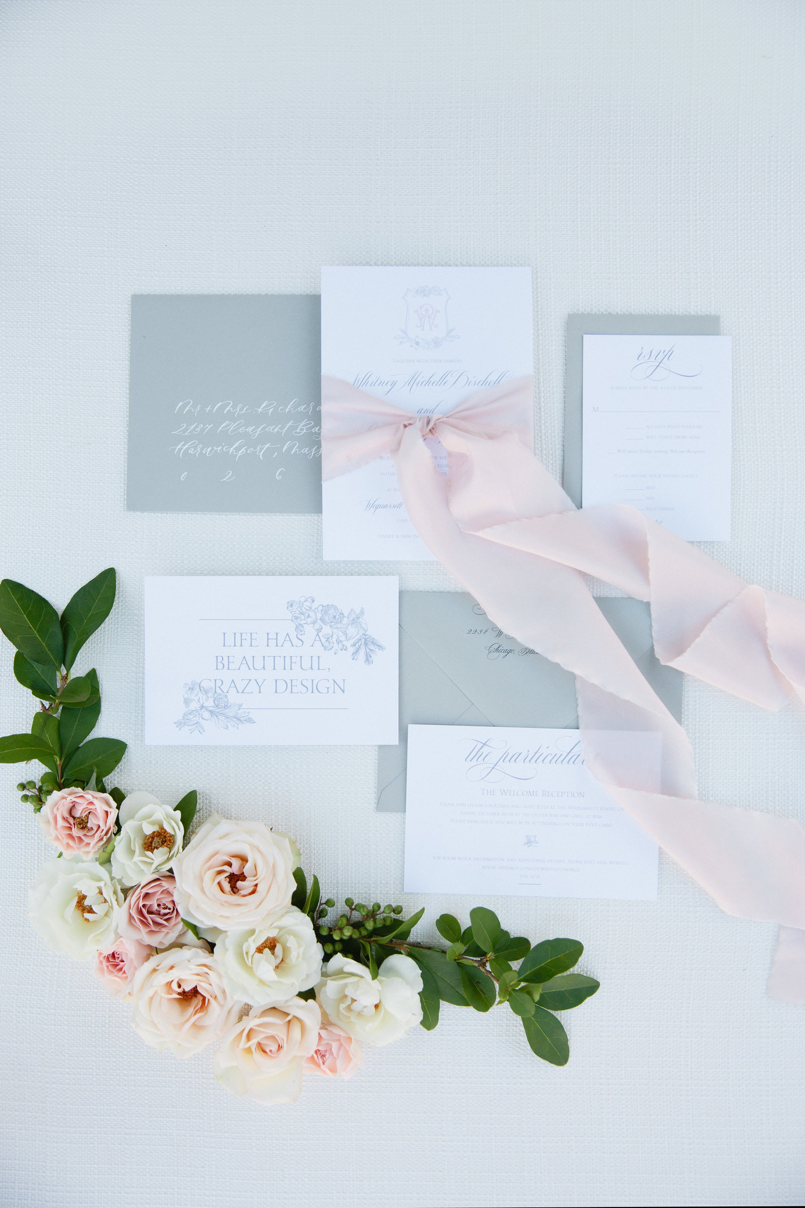 Gray, white and blush wedding invitation for whitney bischoff angel