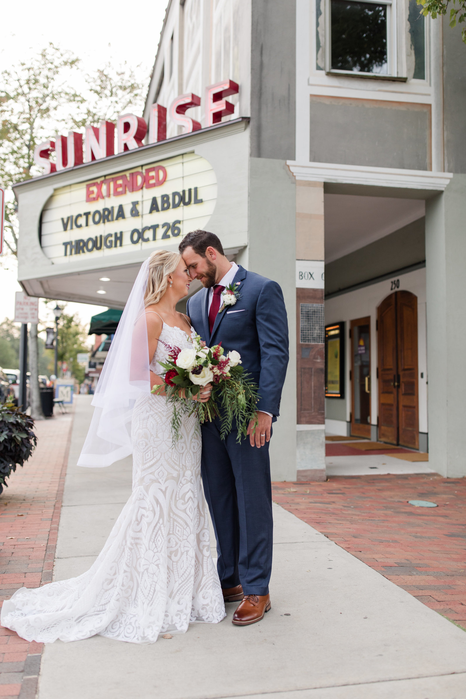 Beautiful bride and groom portrait at the Sunrise Theater, Southern Pines, NC-305 Trackside Wedding