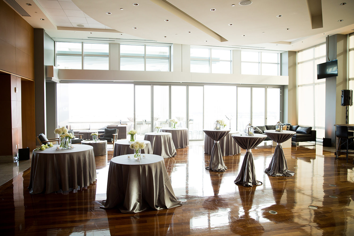 Reception room setup at the Ultimate Skybox Downtown San Diego