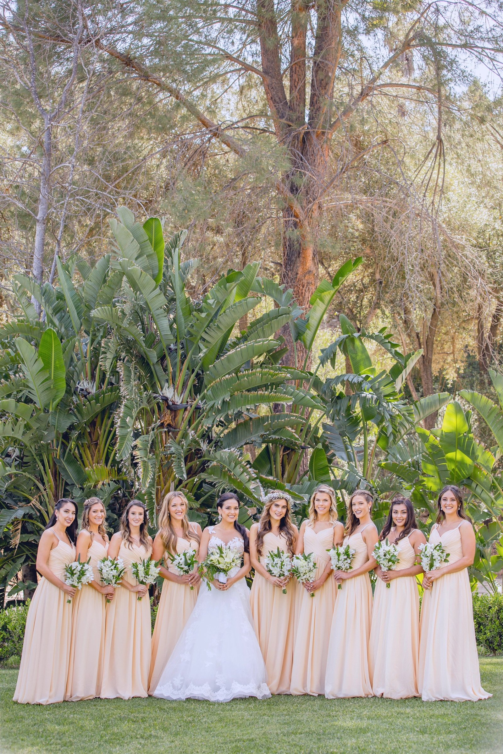bridal party portraits at the newhall mansion
