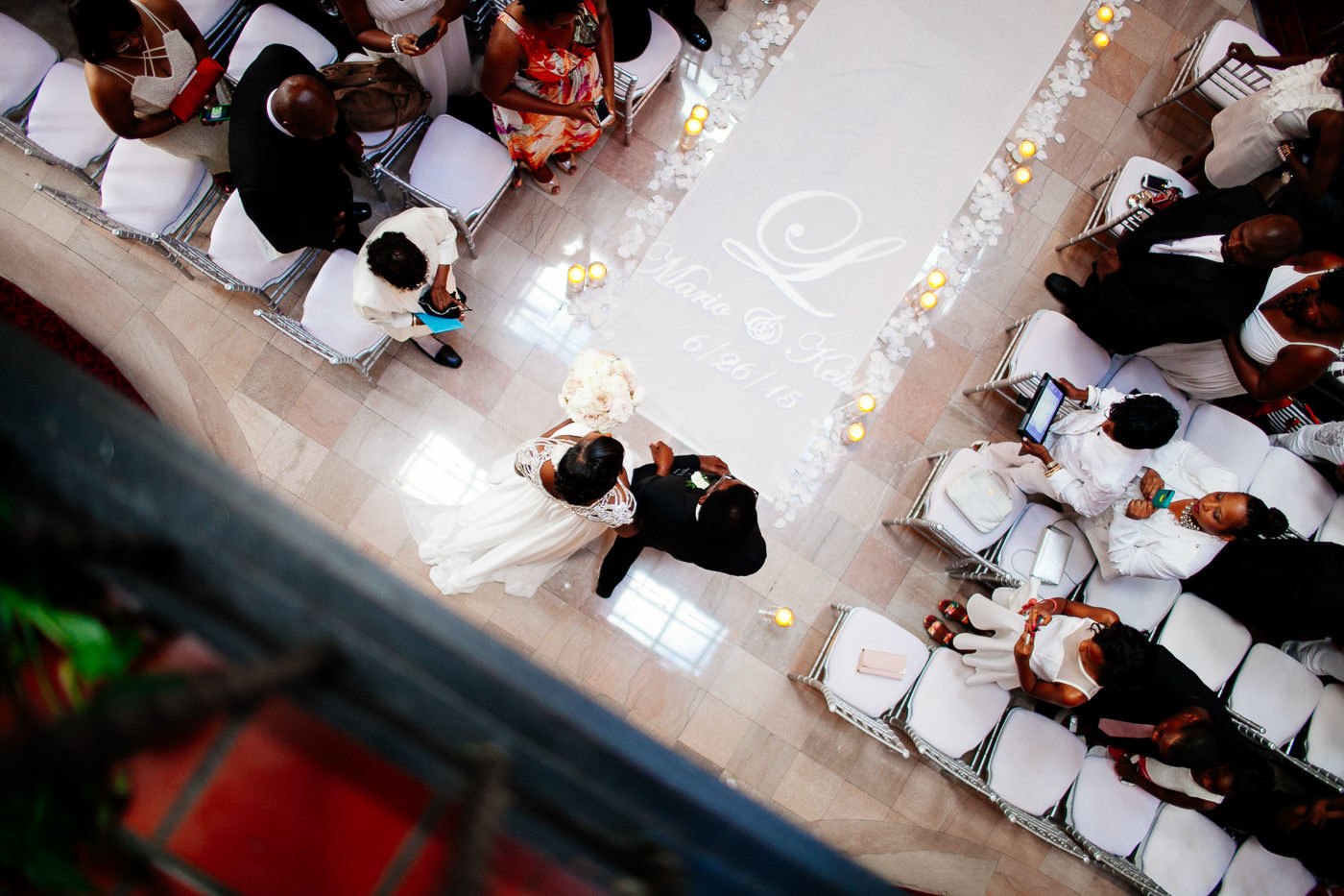 bride being walked down the aisle by her father at wedding view from above St Louis Pinxit Photo