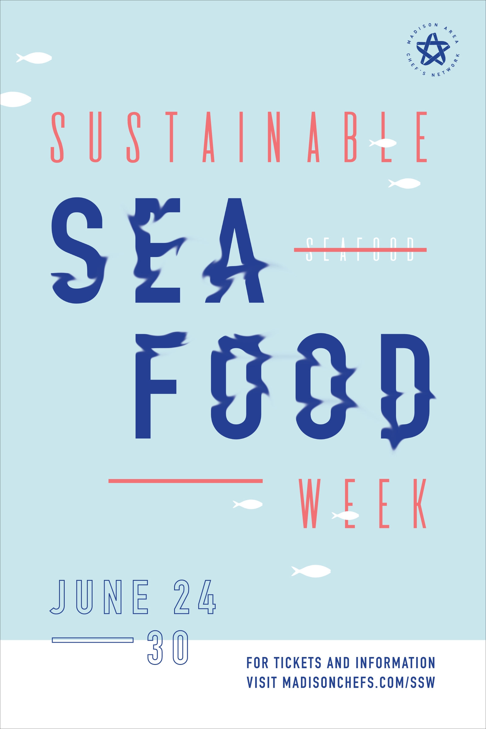 Poster design, illustration, and typography for Sustainable Seafood Week 2018 by Christie Evenson