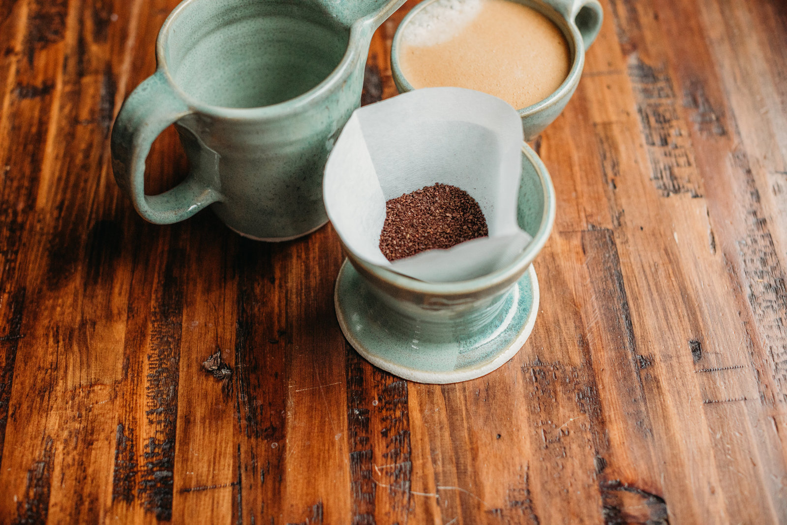 product shot of pottery pour-over coffee set