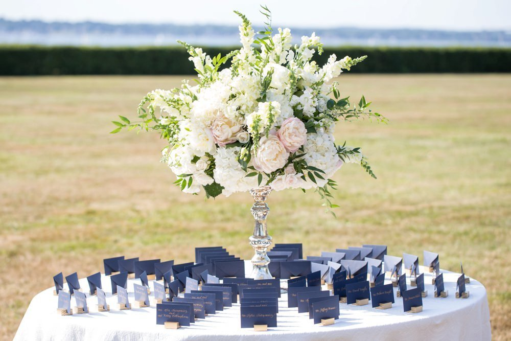 Classic navy and white wedding at The Eisenhower House in Newport, RIq