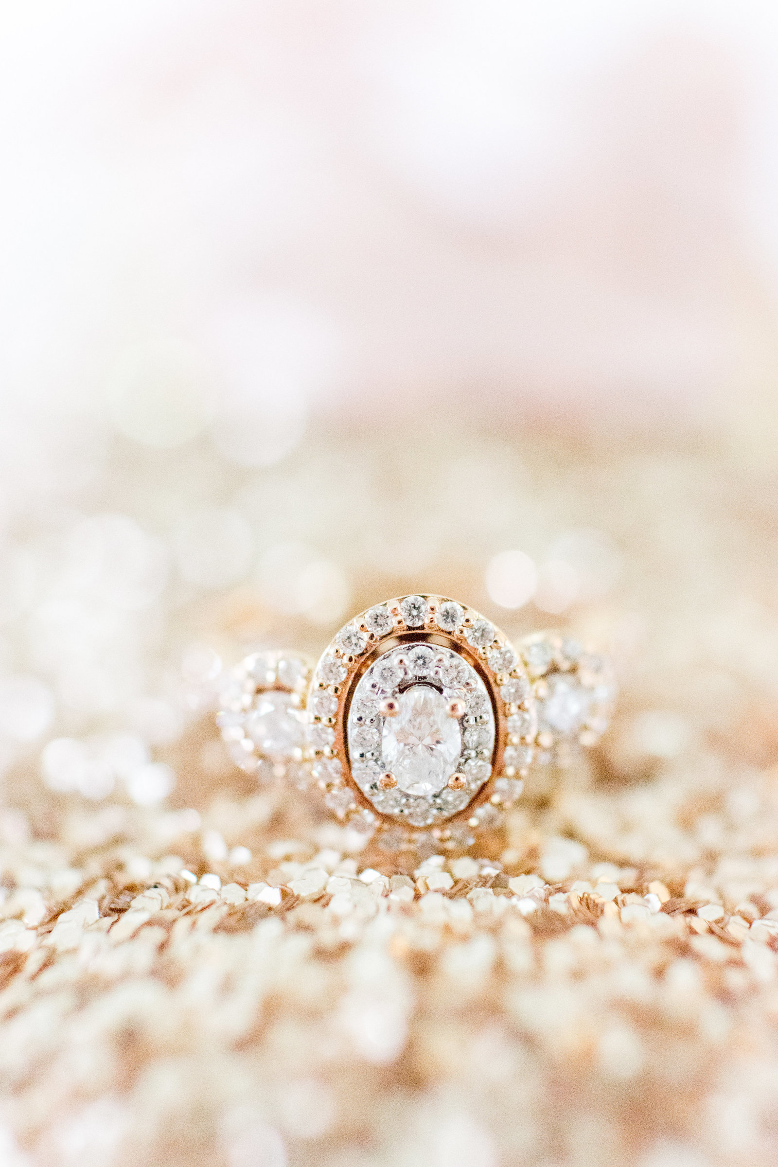 Rose Gold Glitter Engagement Ring