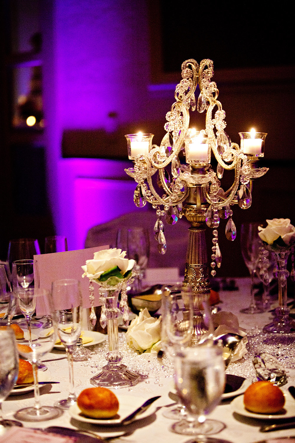 Beautiful chandelier table centerpieces with candles