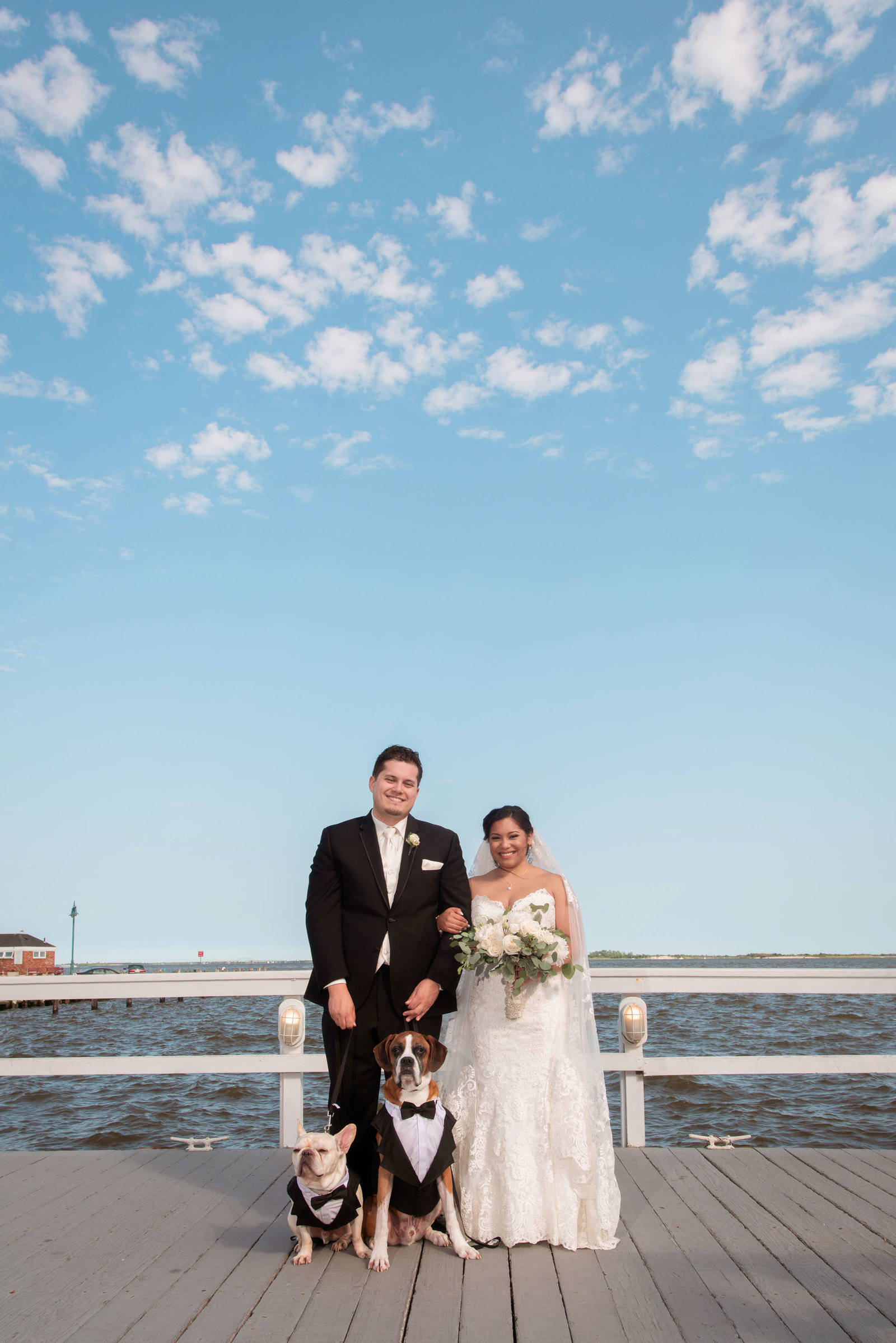 Bride and groom with dogs on dock at Chateau La Mer