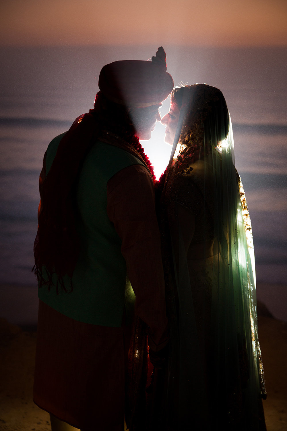 Dramatic Indian Hindu Wedding Portrait on Cliffs Overlooking Ocean in San Diego