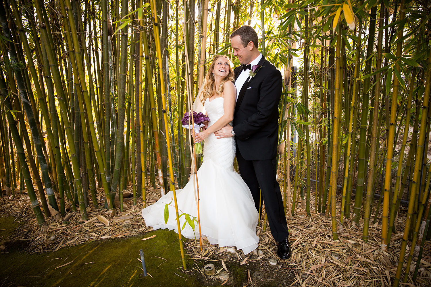 bride and groom in the bamboo