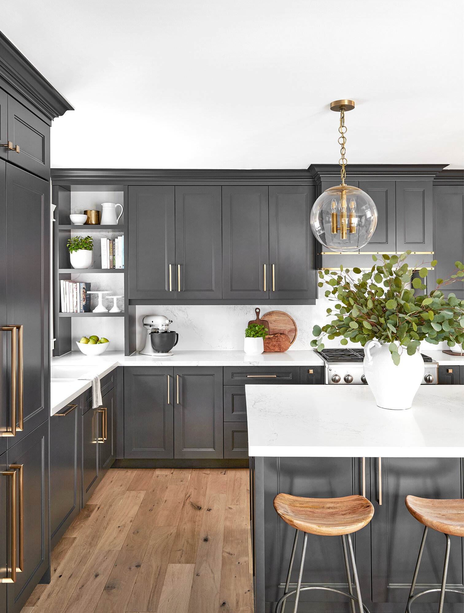 blue kitchen cabinets and subway tile backsplash in Burlington interior designer's home