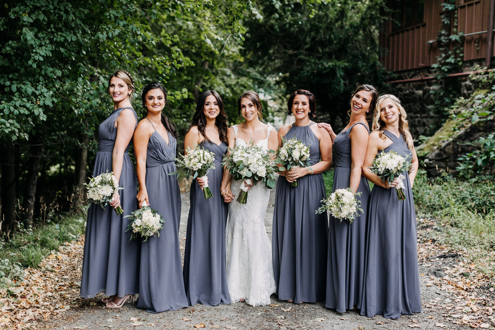 bridesmaids winery blue dresses