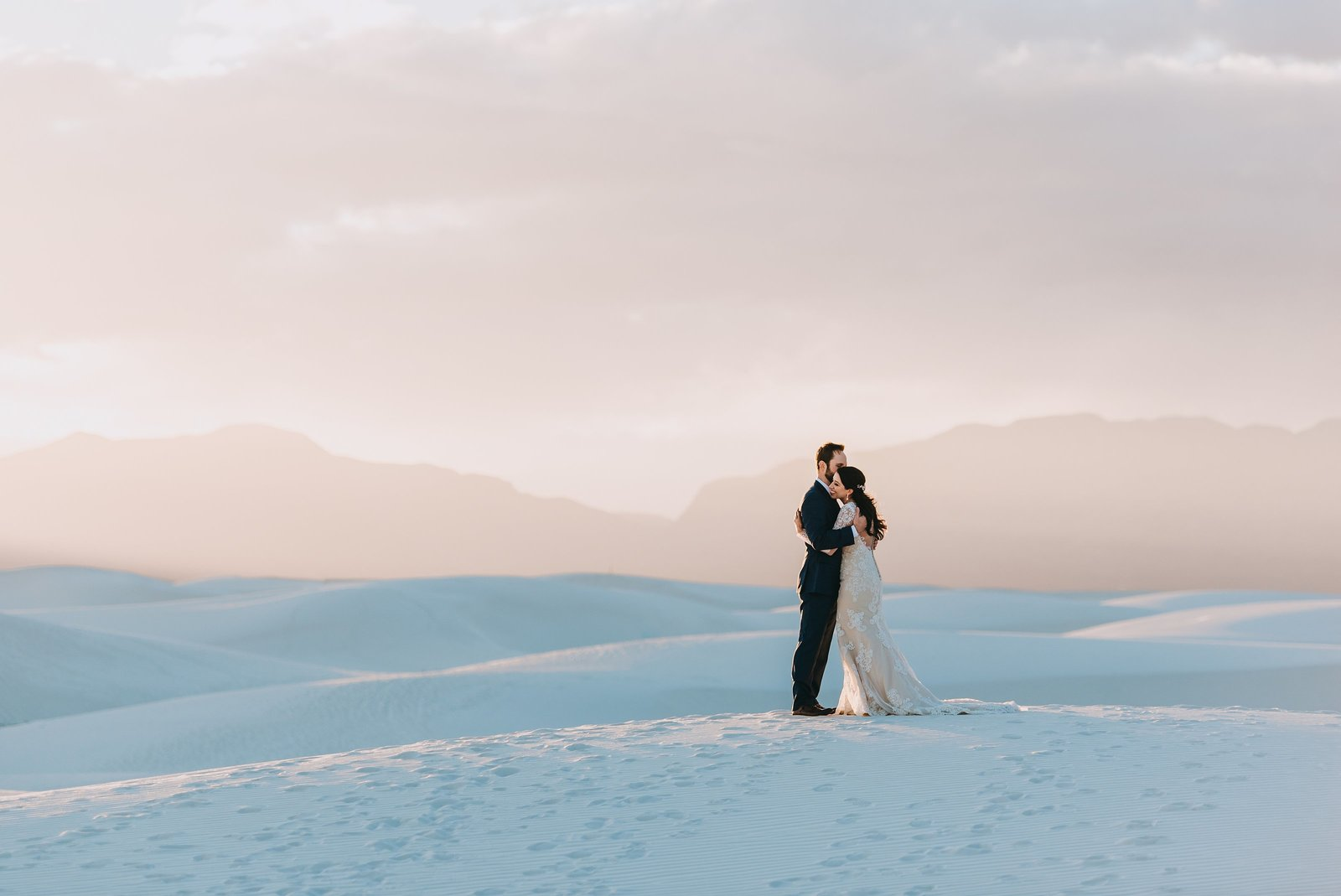 Bride and groom at their adventure wedding elopement at White Sands National Park