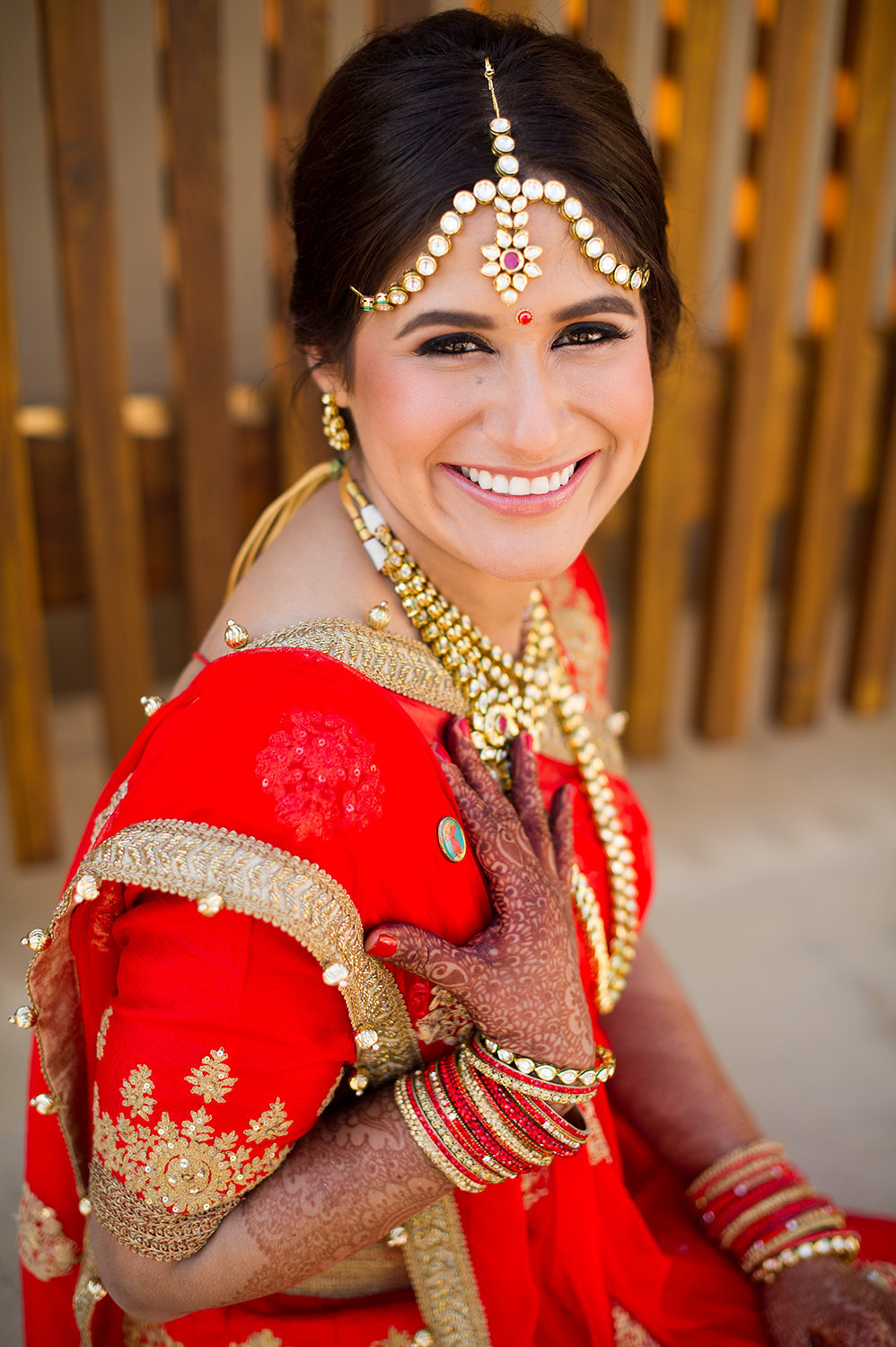 Beautiful Hindu Bride with Henna and Indian Jewelry