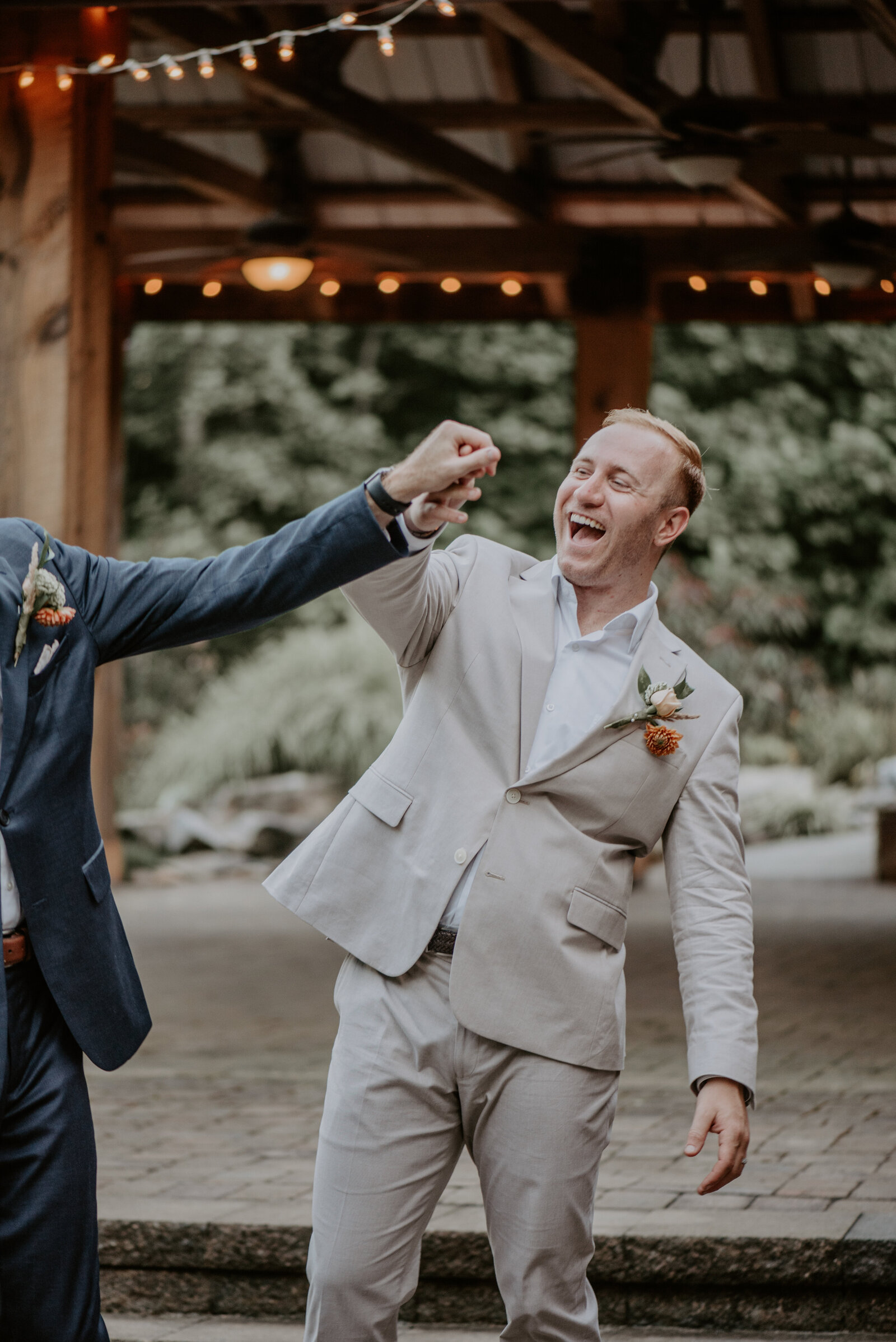 LGBT+ Grooms first dance at Boma Lodge in Greensboro NC Wedding