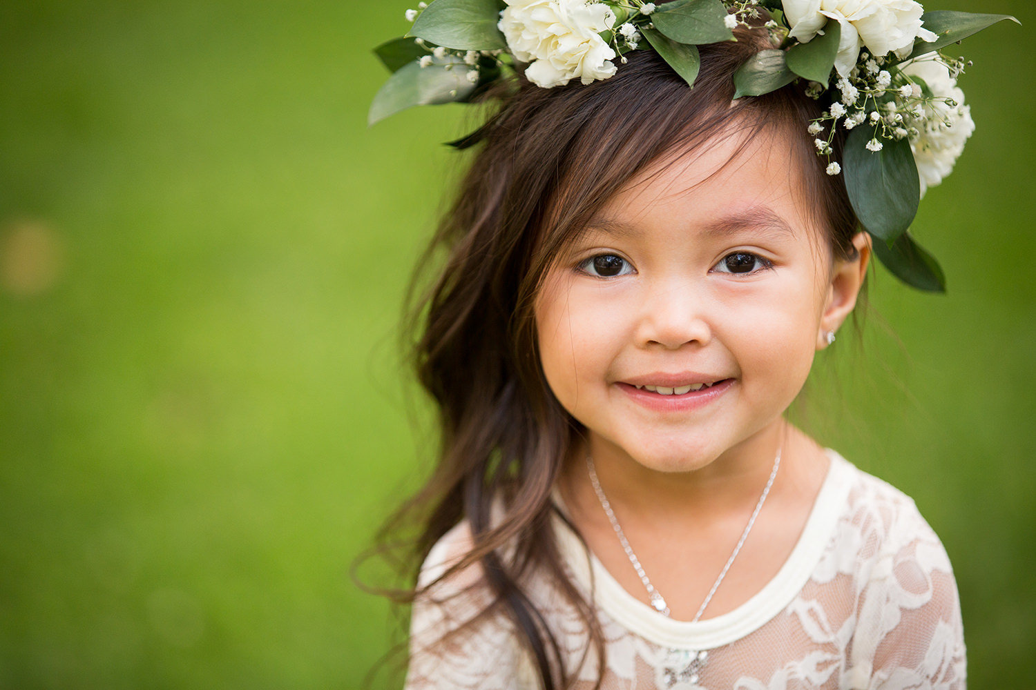 cute flower girl with flower crown for luce loft wedding
