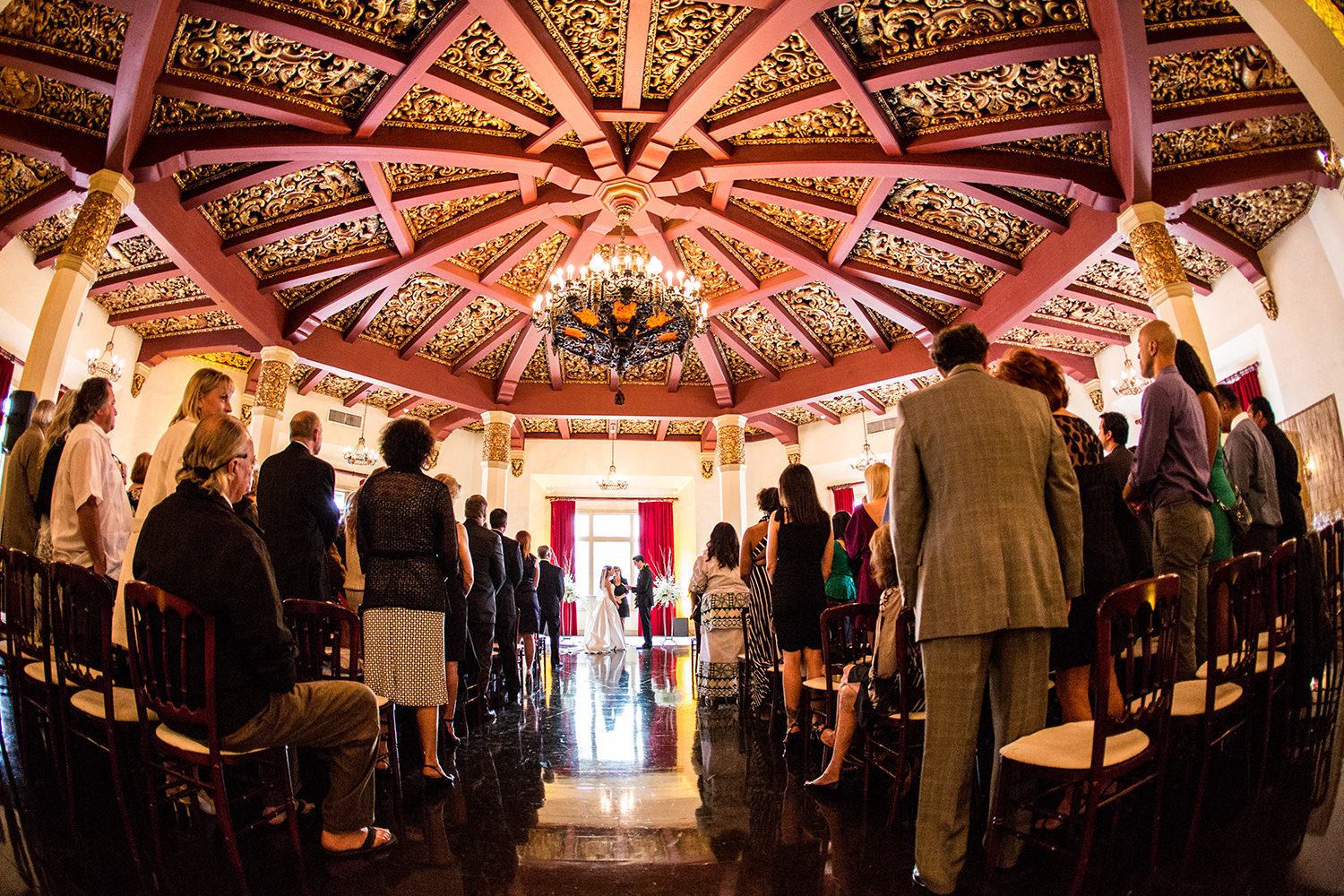 ceremony inside the amazing don room at the el cortez