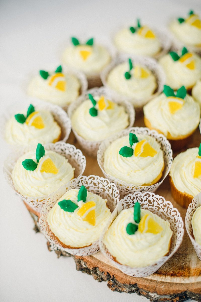 Lemon Cupcakes at a Backyard wedding