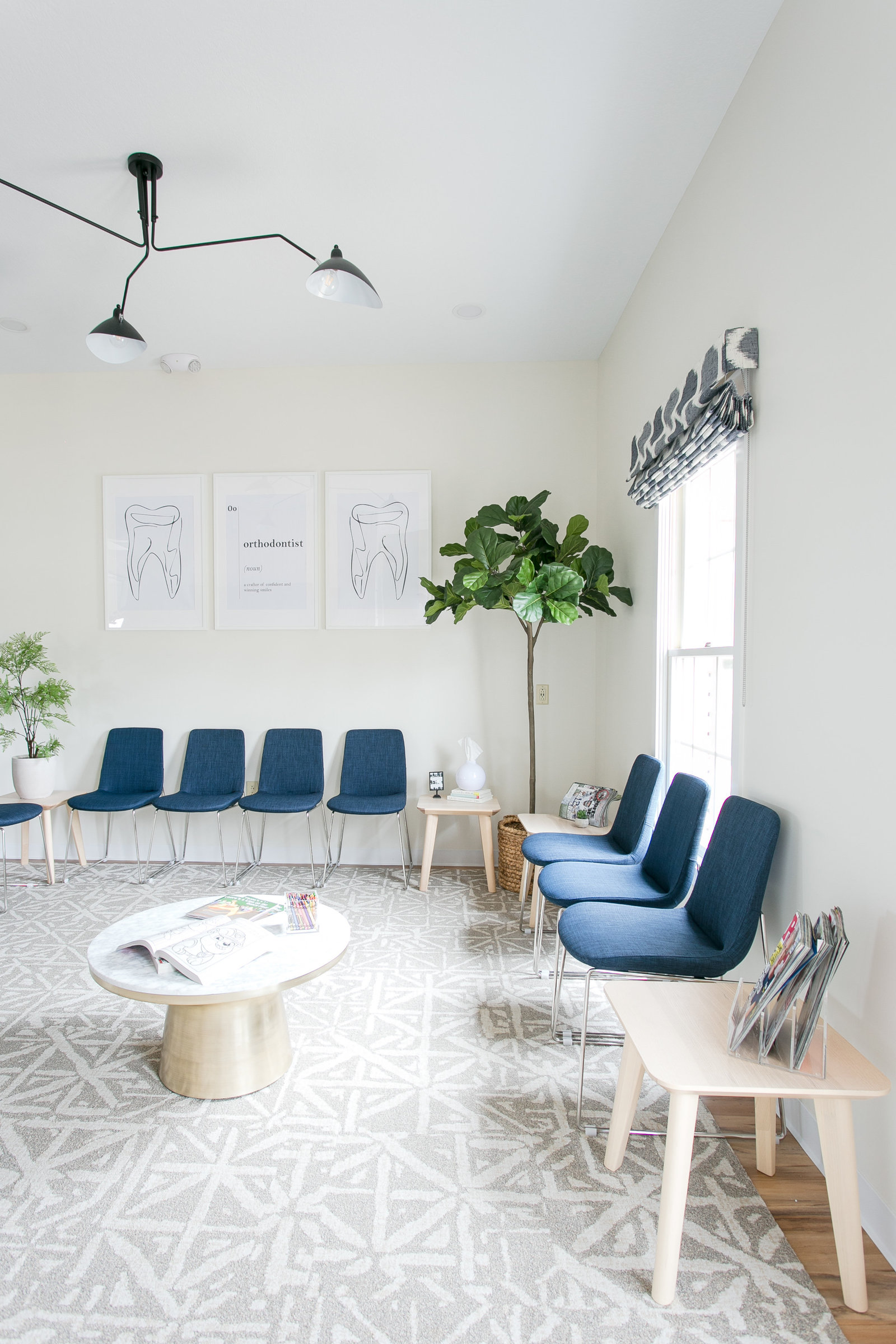 Modern Boutique style Orthodontist waiting room  design