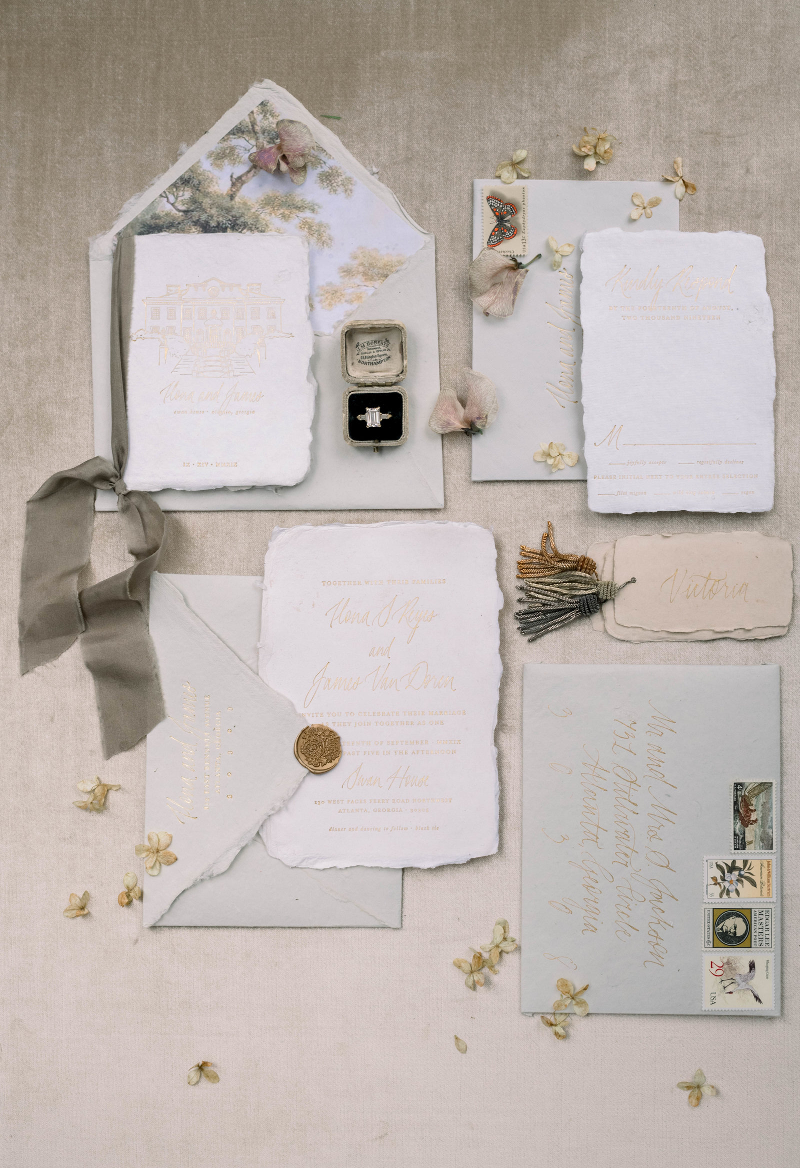 Fine art invitation suite with calligraphy by Liz Andolina Photography