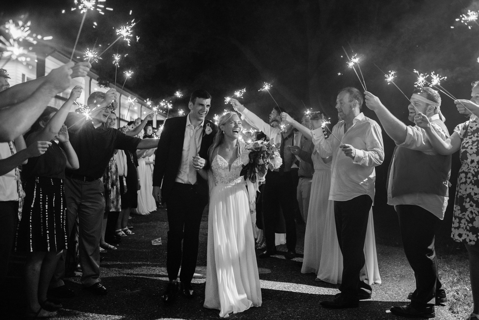Minnesota Wedding Sparklers Exit 1913 bw