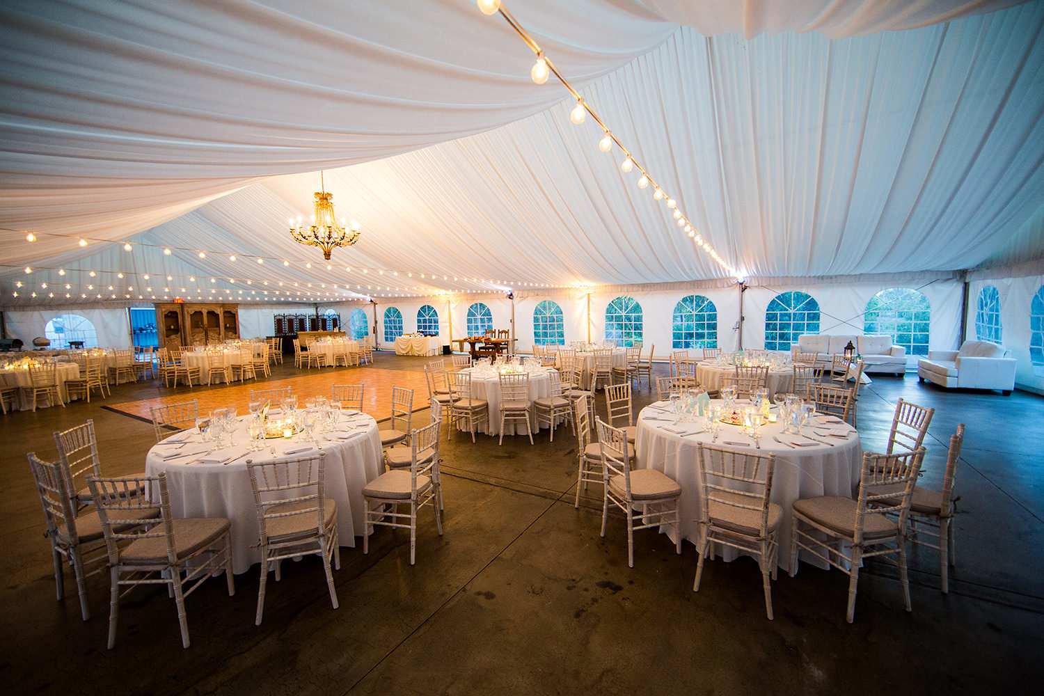 reception tent at paradise falls