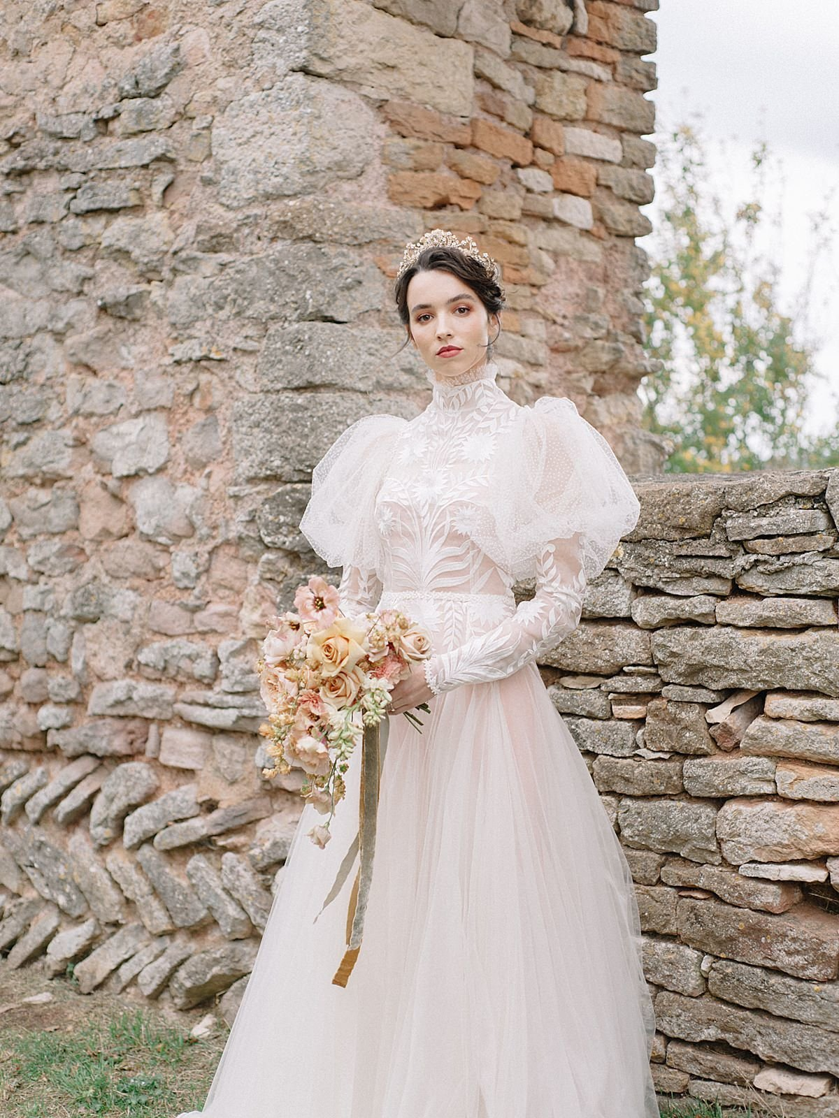 Helianthus-high-neck-puff-sleeve-wedding-dress-JoanneFlemingDesign-CelineChhuonPhoto (78)_WEB