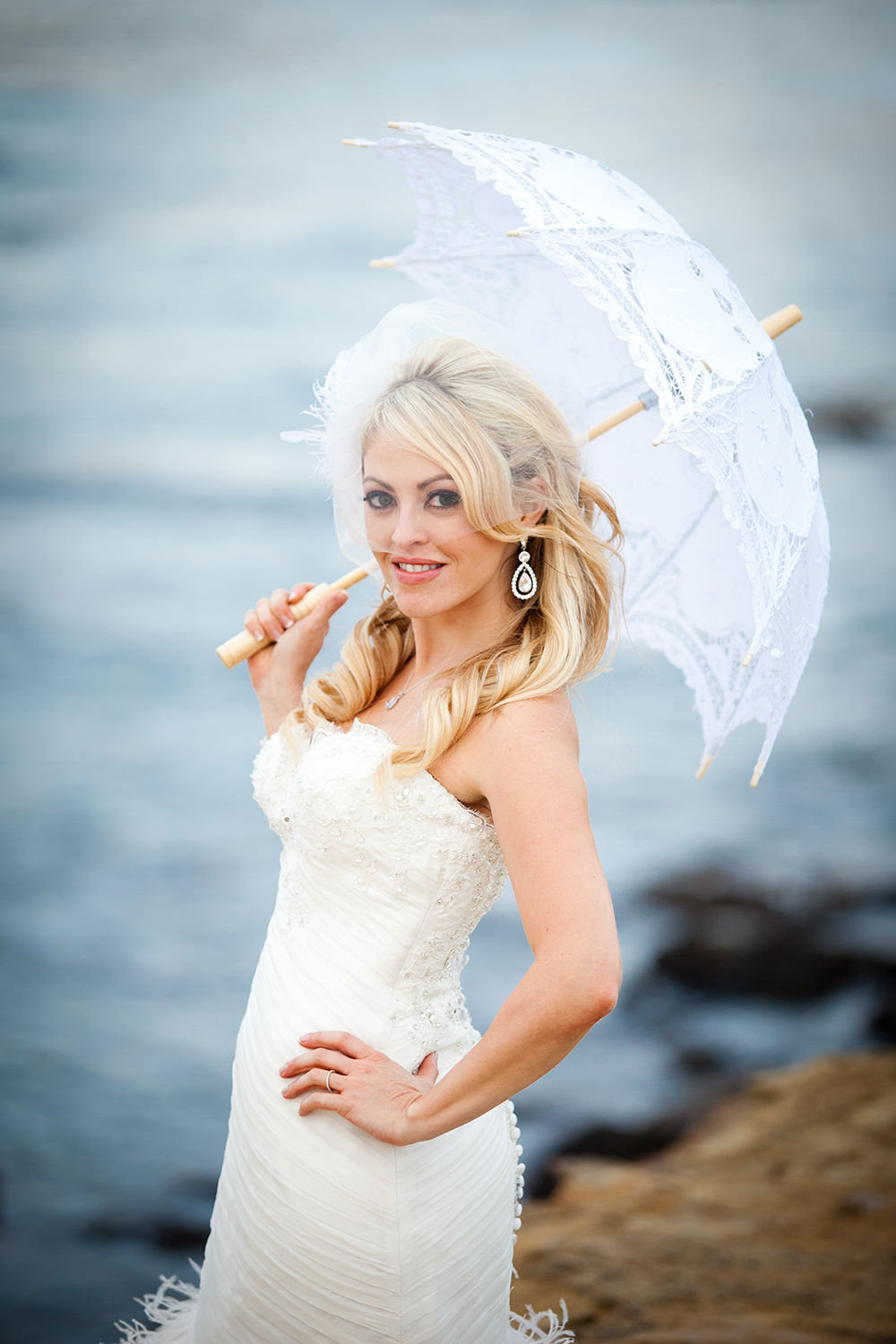 bride with vintage umbrella