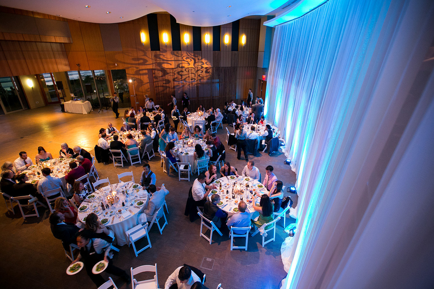 reception space with blue uplighting