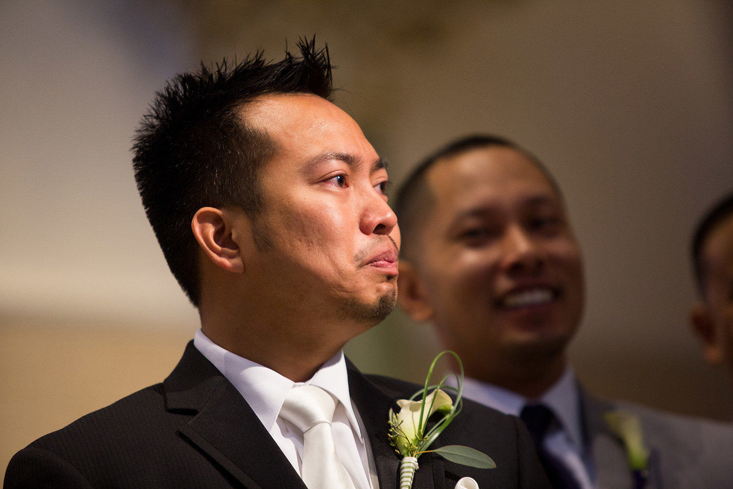 groom getting emotional seeing bride at the immaculata