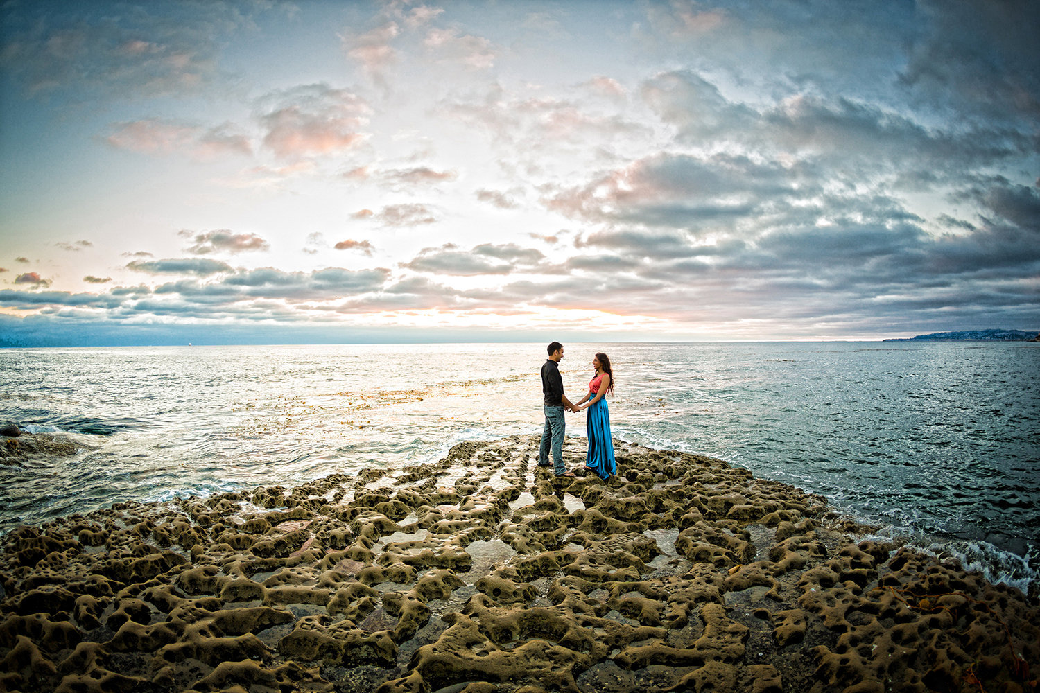Sunset Cliffs engagement photos sunset at tidepools