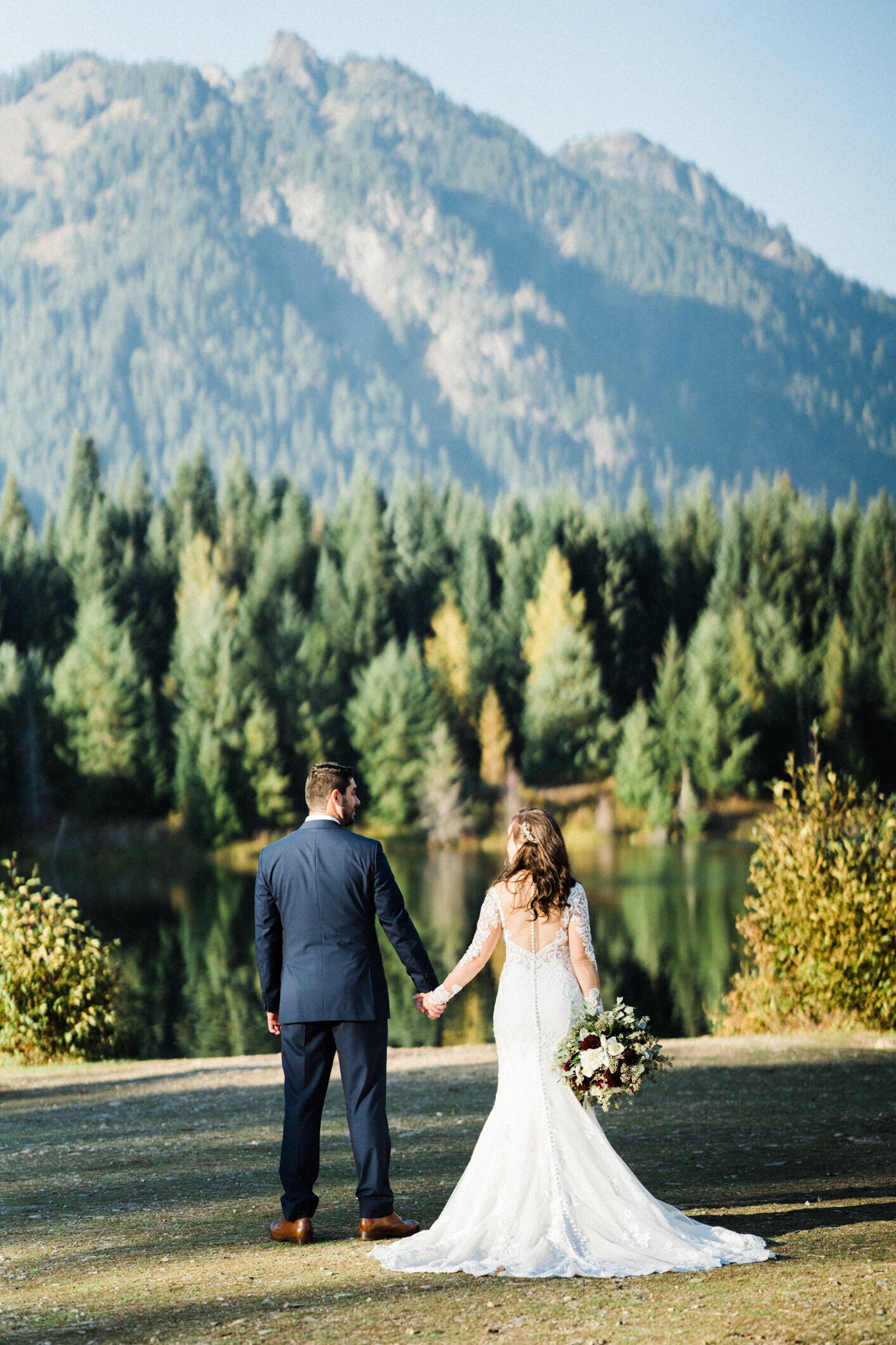 bridal portraits at the best place for engagement photos in the seattle area, gold creek pond