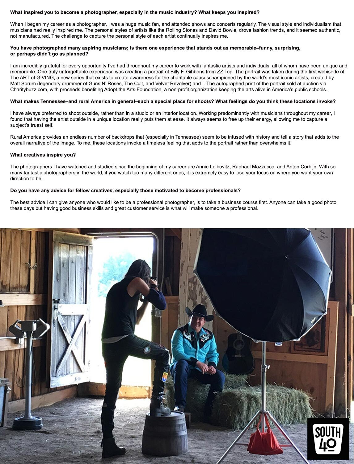 Creative Spotlight Interview Photographer Mark Maryanovich behind the scenes country music photoshoot South 40 inside barn with light set up black and white text on top of photo page 6