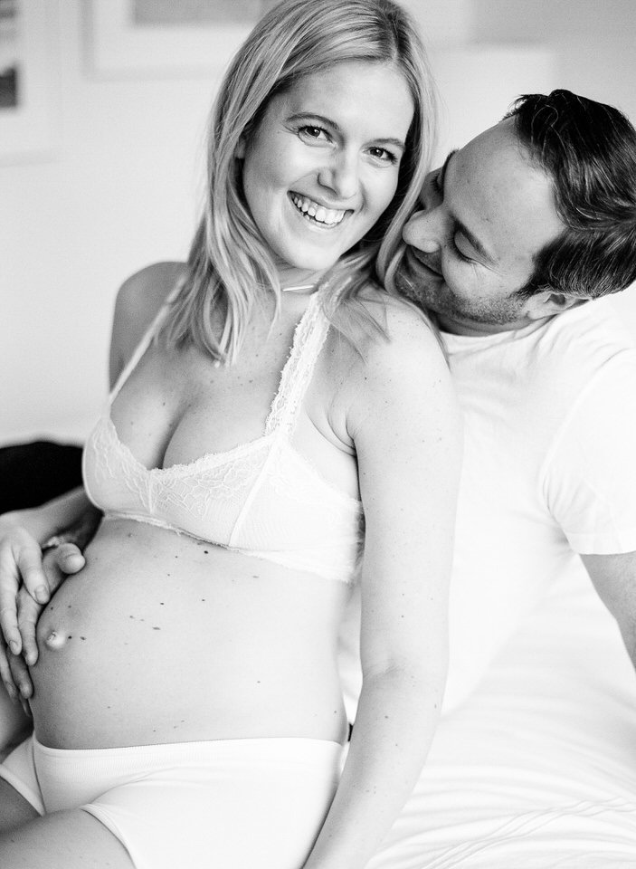 black and white film maternity photos in nyc