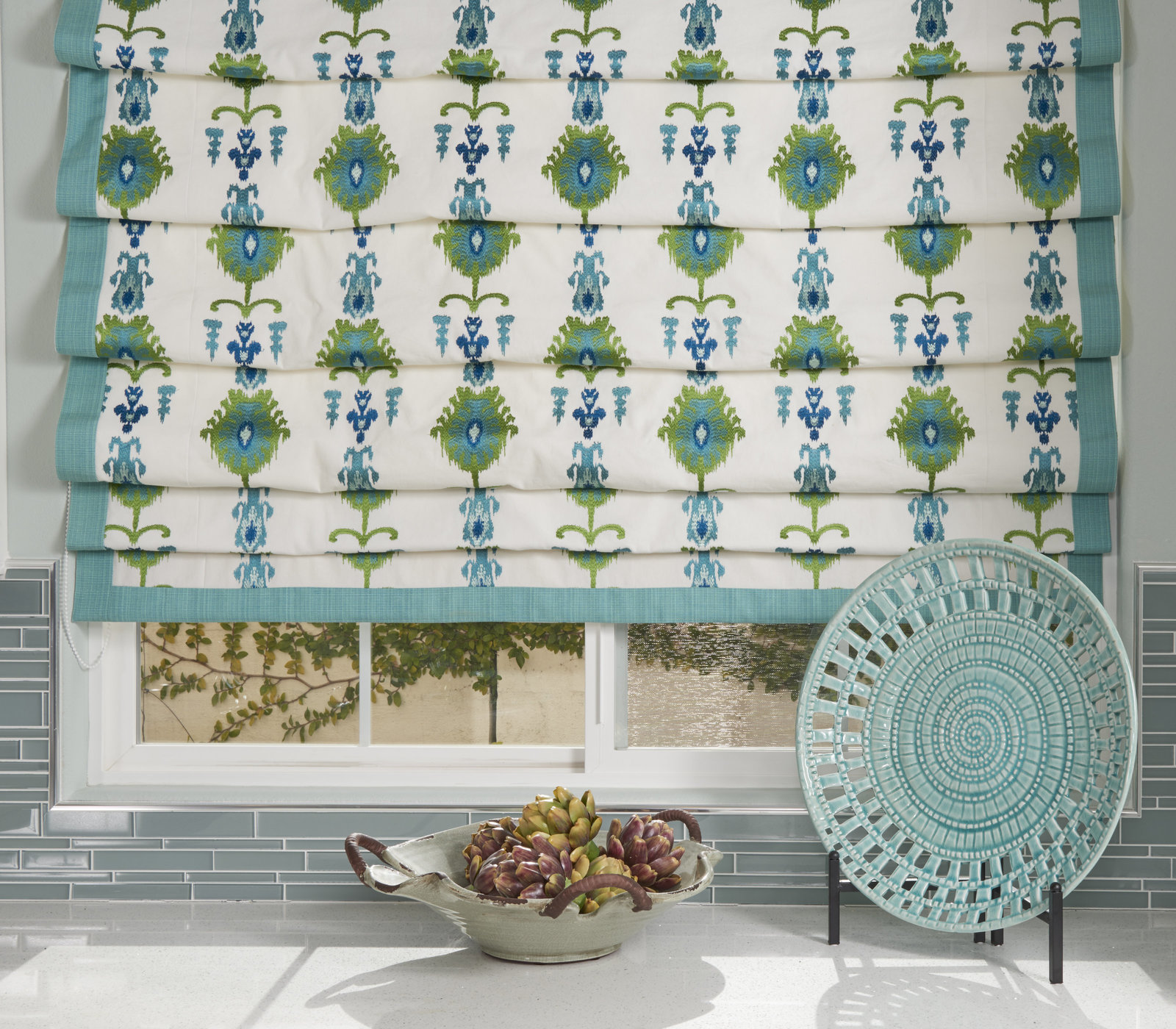 Beach House Kitchen Blue Green Window Treatment