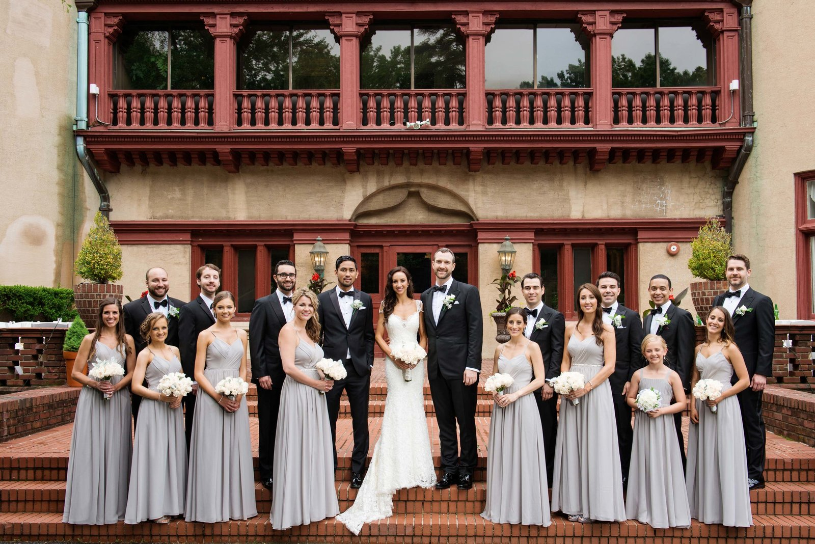 Bridal party at the steps of Coindre Hall