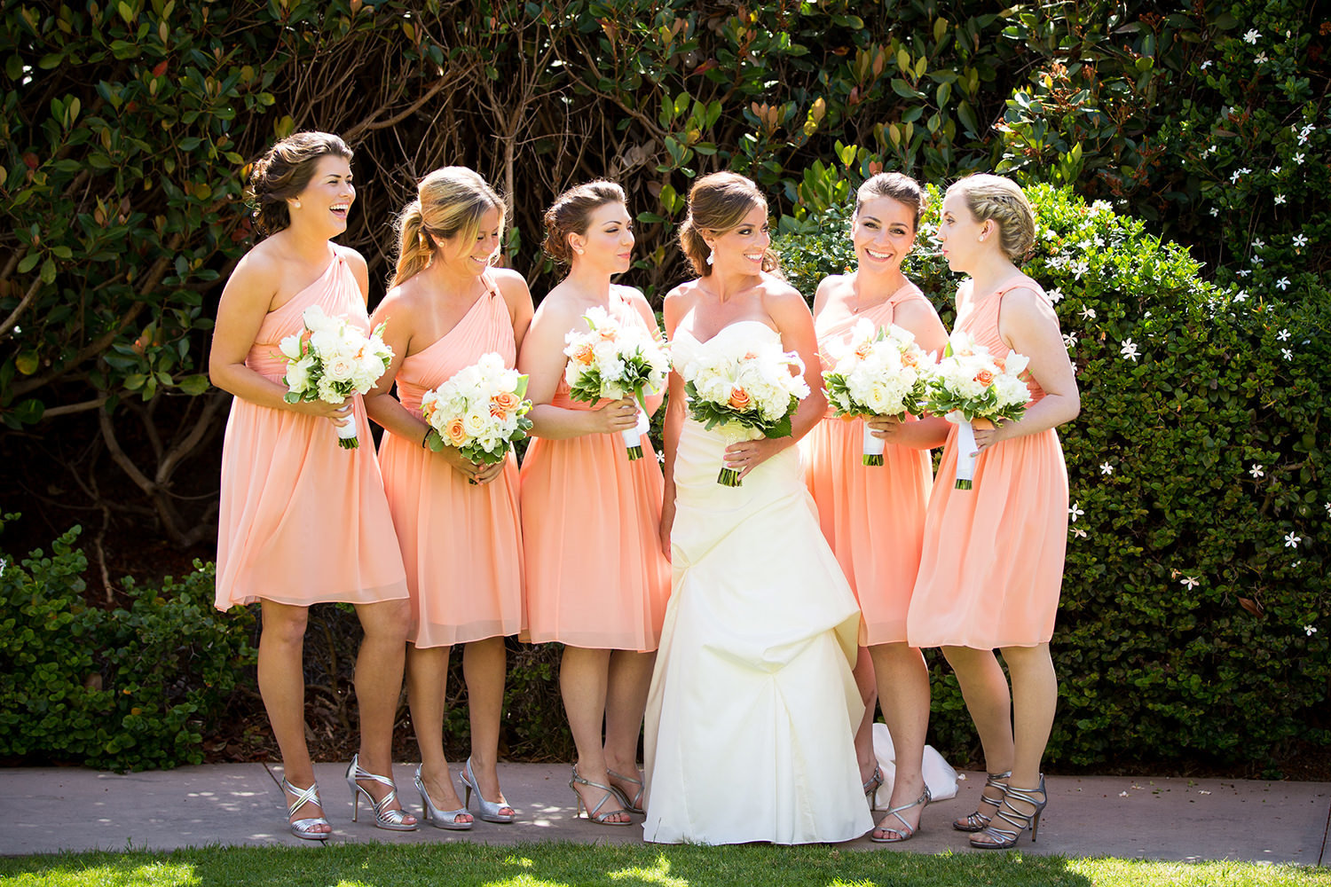bridal party in pink dresses at loews coronado