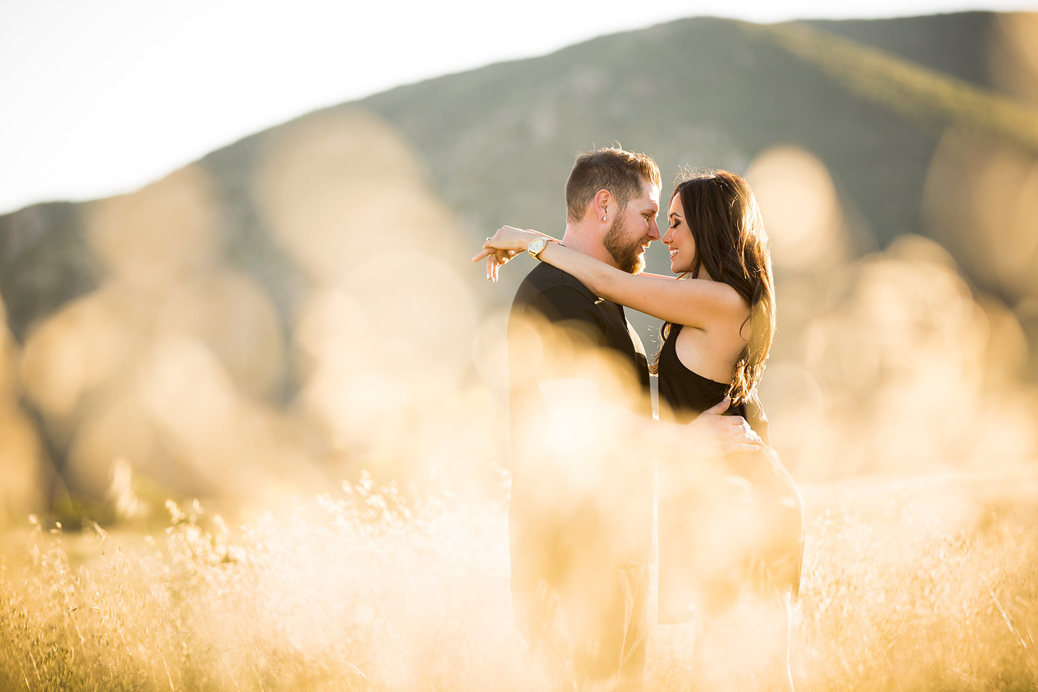 Mission Trails engagement photos open field rustic