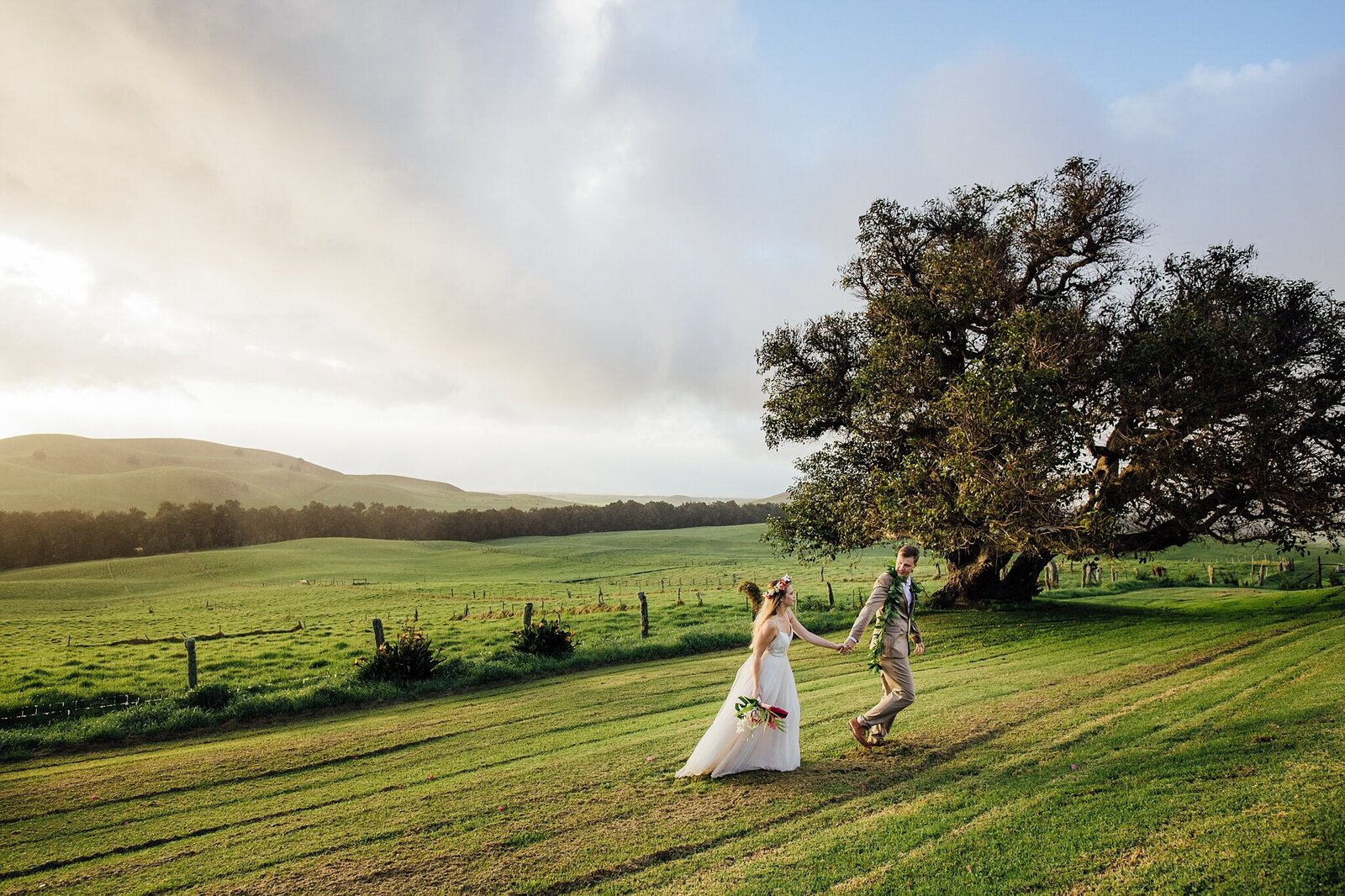 rolling kohala hills at kahua ranch on wedding day