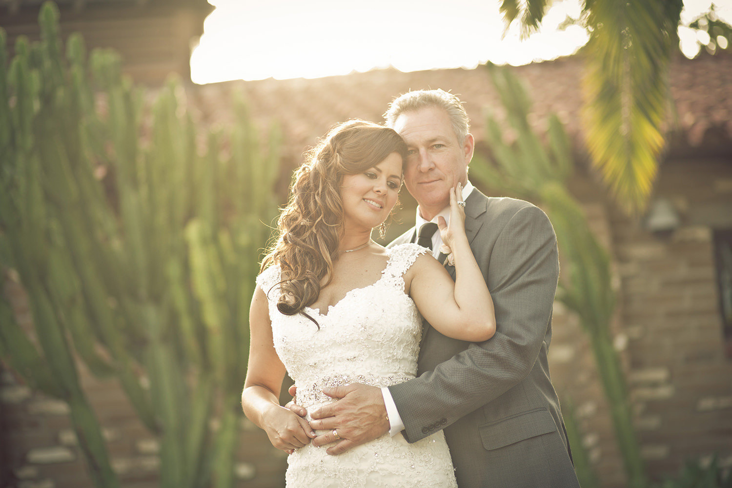 Estancia Wedding Portrait with cactus and bricks