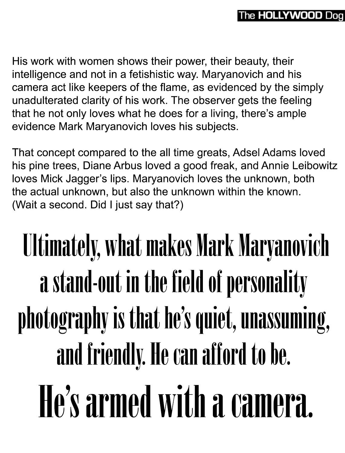 Magazine article featuring Mark Maryanovich publication The Hollywood Dog black text on white page 10