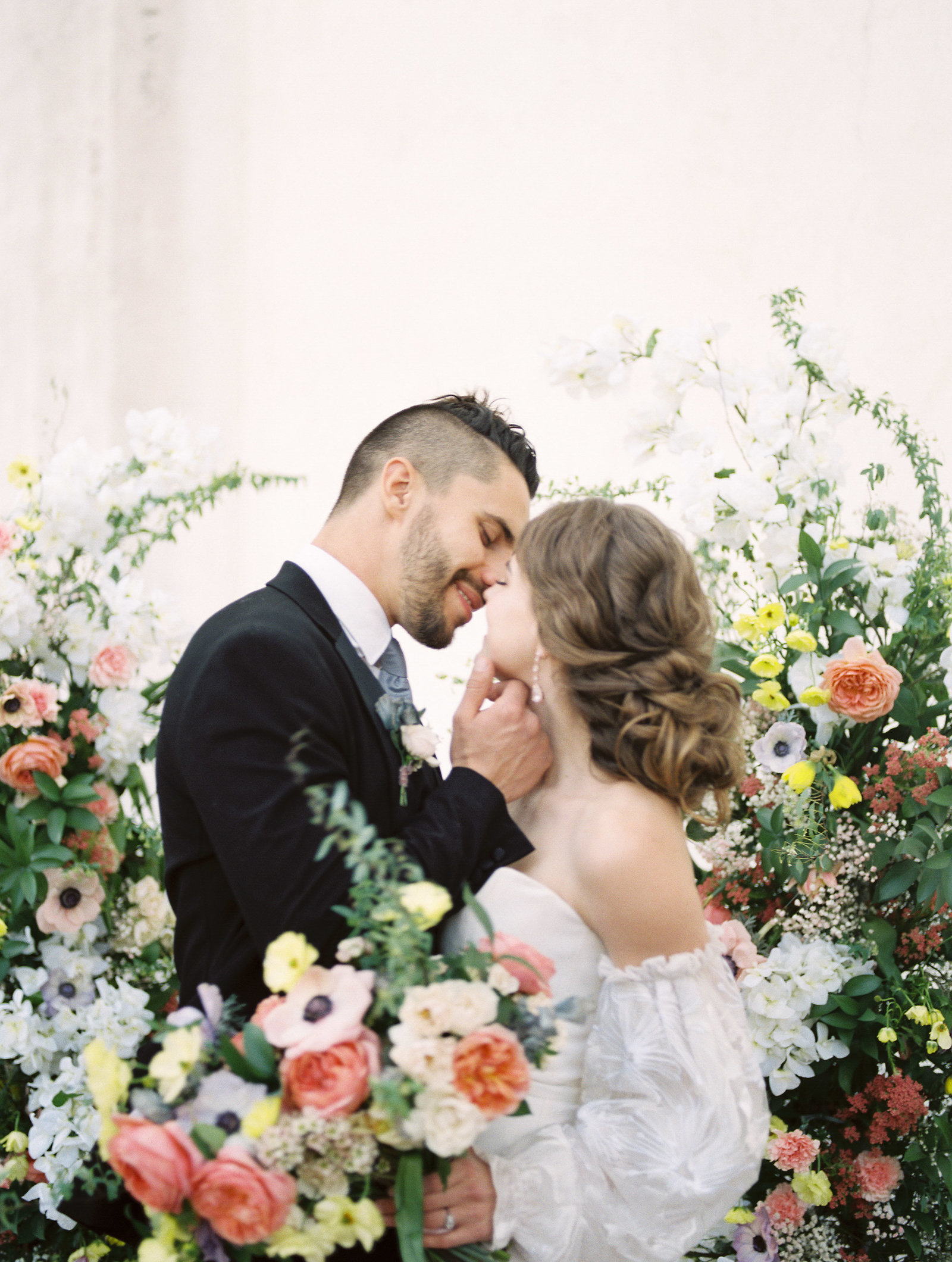 High end fine art wedding with pink dress and pops of color at the Junipero Serra Museum in San Diego by Liz Andolina Photography-7