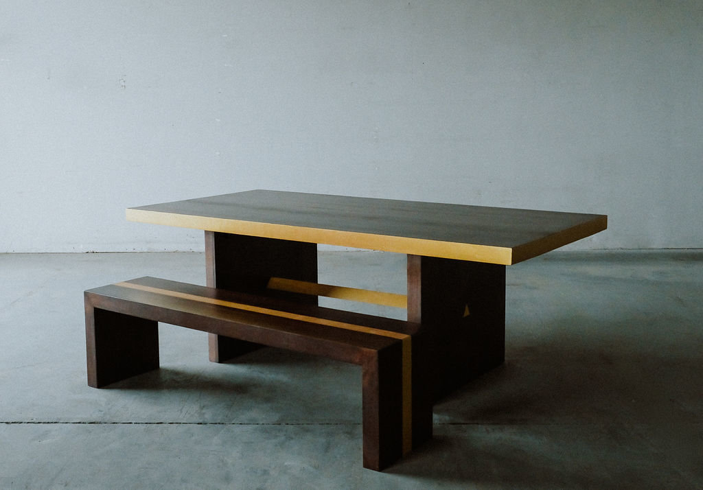 modern table with gold leaf