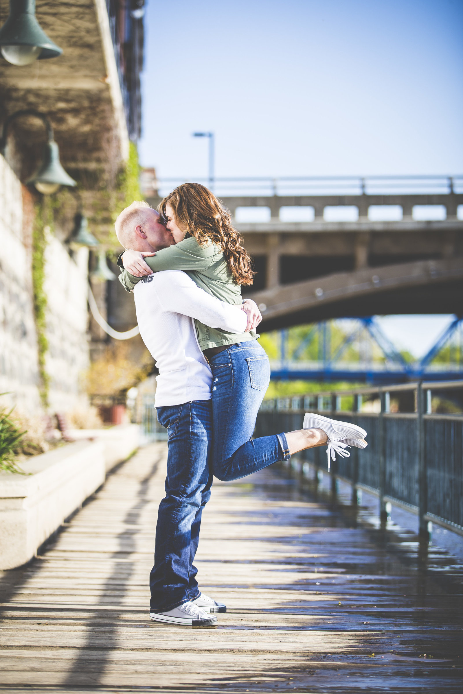 Brighton couple travled to Grand Rapids Michigan's downtown area for their engagement photography session