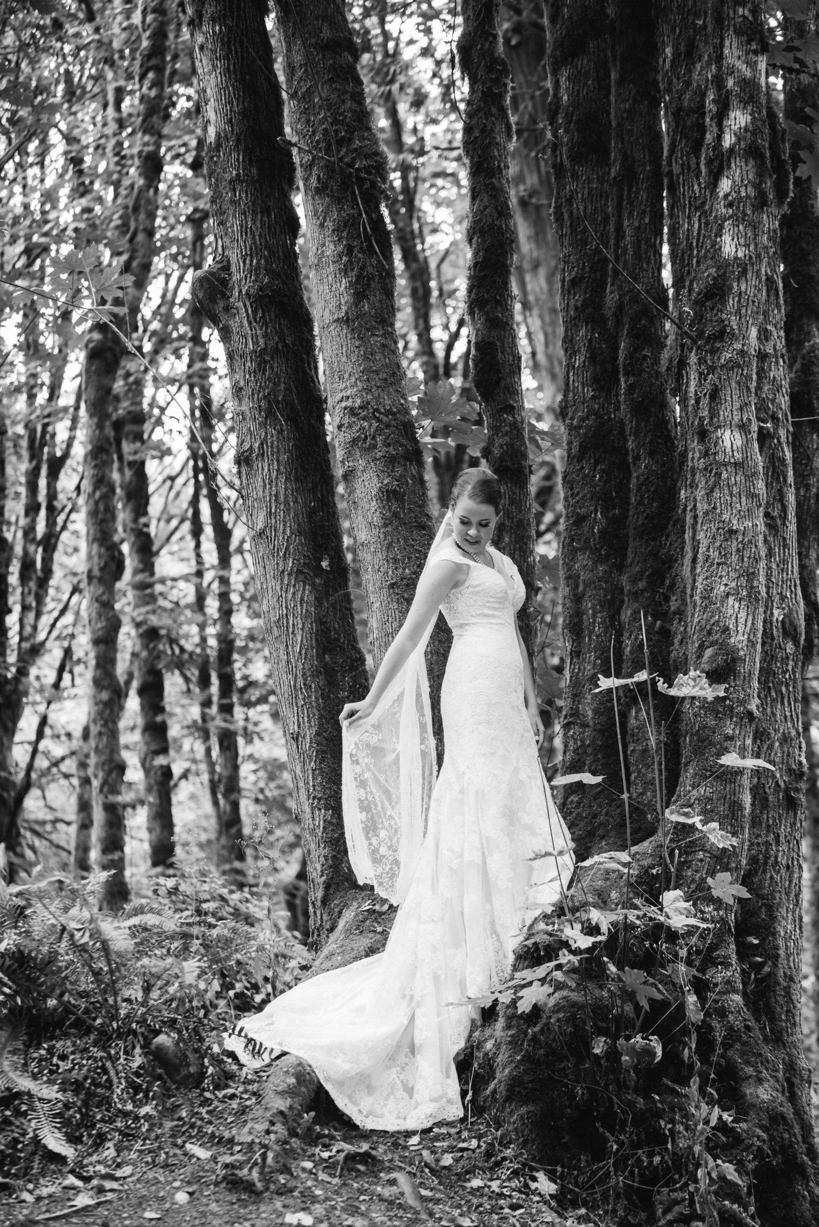 bride stands on stump for beautiful bridal portrait