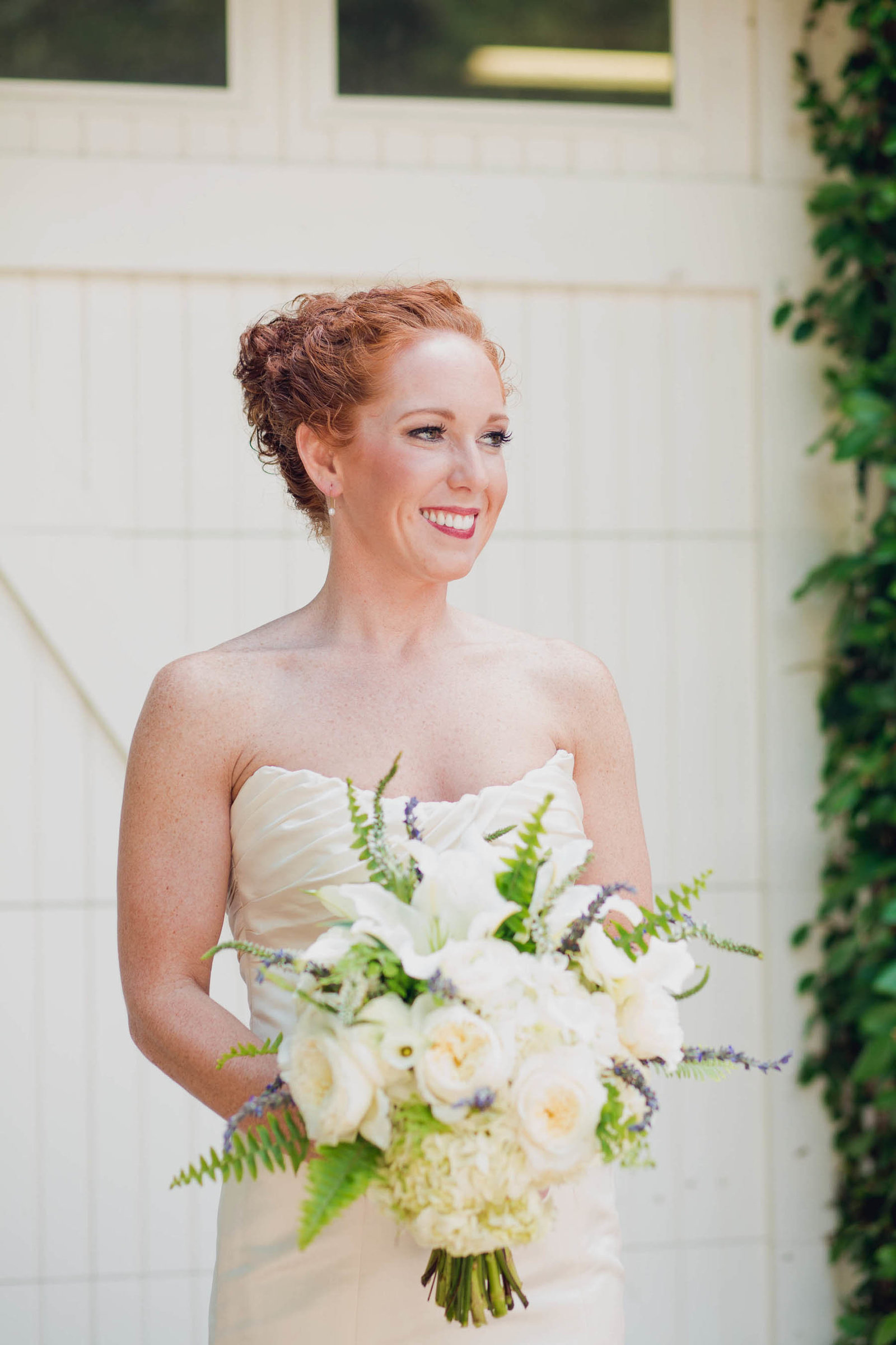 Bride smiles, Old Wide Awake Plantation, Charleston, South Carolina