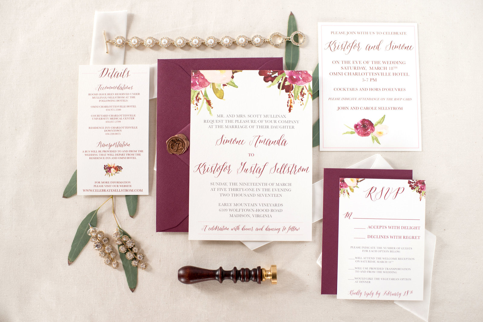 Styled Invitation Suite for Early Mountain Vineyard Wedding
