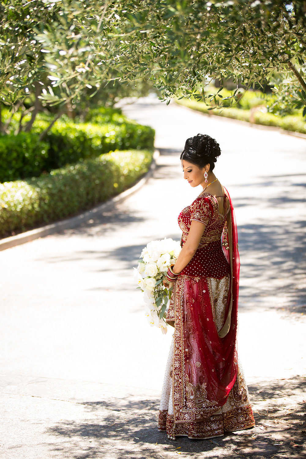 Peaceful moment with bride in beautiful red sari