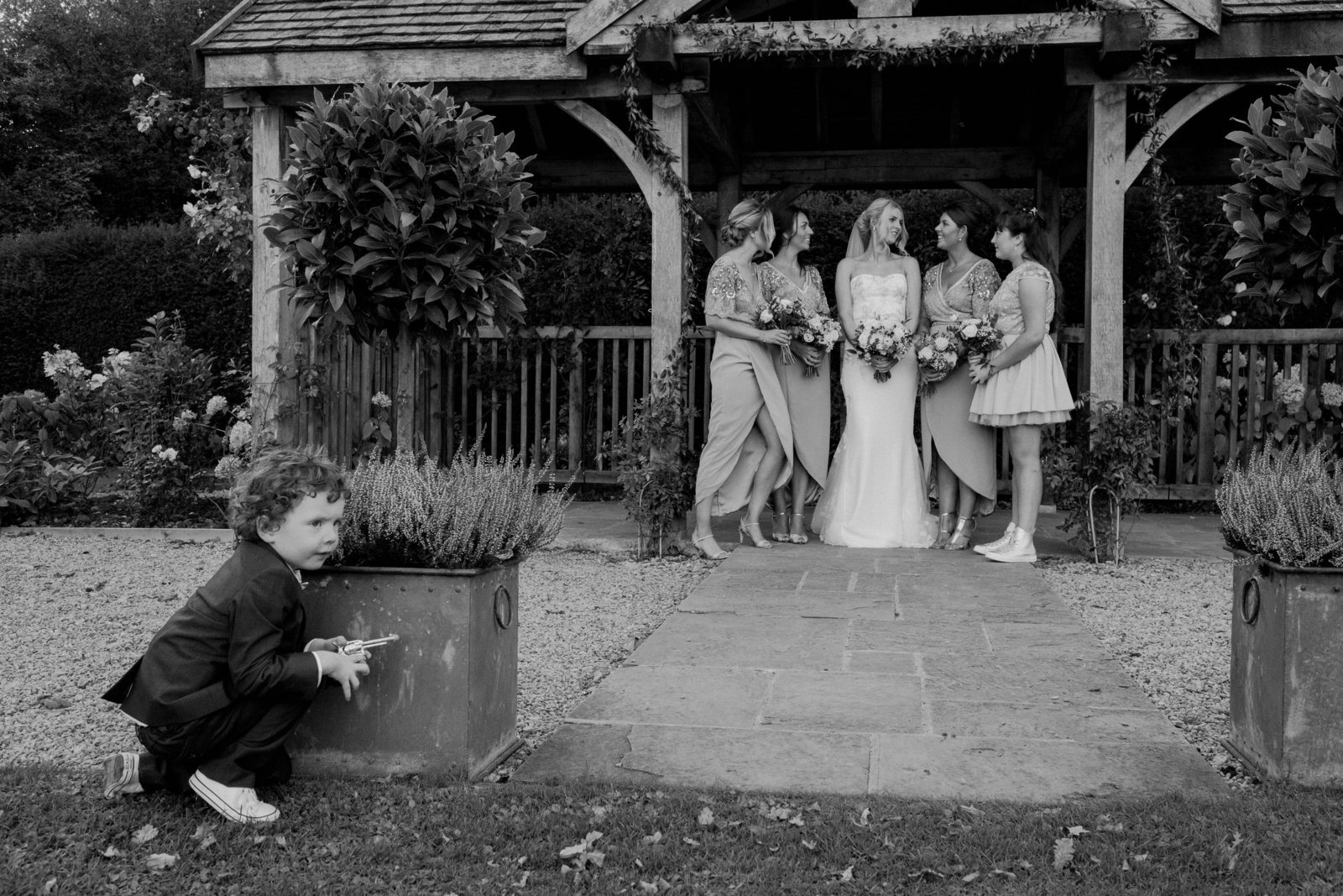 Bridesmaids and paigeboy at Middleton Lodge. Modern wedding photographer